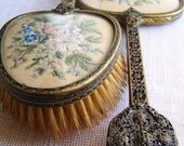 embroidered dressing table brush and mirror