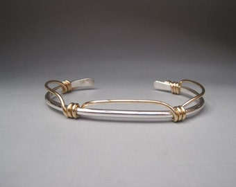 Sterling Silver Cuff with Gold Filled Knots