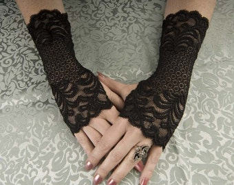 "Exquisitely fitted Steampunk / Goth / EGL Beautiful 9"" long Black lace fingerless glove wristlettes"