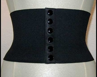 ANY SIZE - 80s style elastic and leather stretch belt