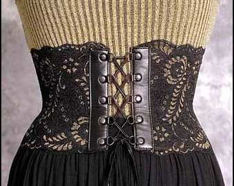 Private listing for lilianabryan0 - Victorian inspired Black and Gold Leather and Lace Corset Belt