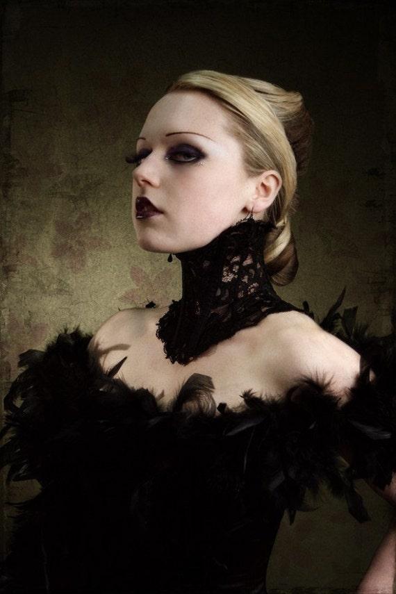 Elegant Victorian Steampunk inspired black lace neck corset size medium