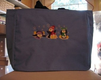 Embroidered Penquin Tote Bag
