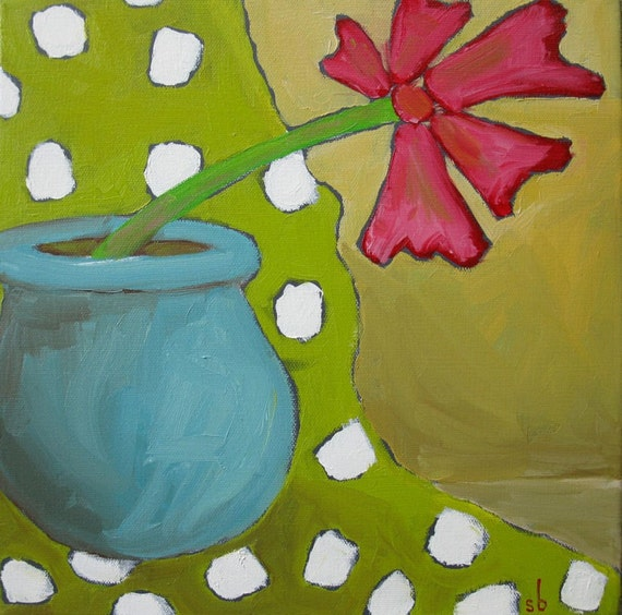 Oil Painting on stretched canvas Flower in Pot