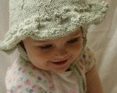Green Little Girls Knit Sunhat - 6 to 12 months