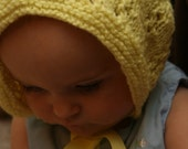 HandKnit Yellow Baby Bonnet
