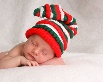 Red Christmas Colors Baby Elf Knit Hat 0-6 months