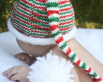 Red Christmas Sparkle Pixie Long Tail Hat 0-6 Months