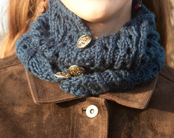 Dark Blue Knit Neckwarmer with Buttons for Women