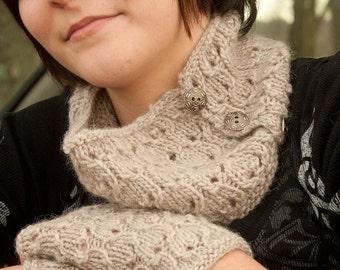 Grey Honeycomb Knit Neckwarmer