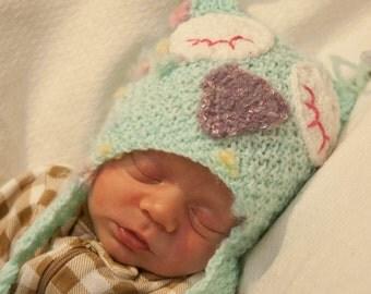 Blue Baby Owl Knit Hat - Newborn Baby