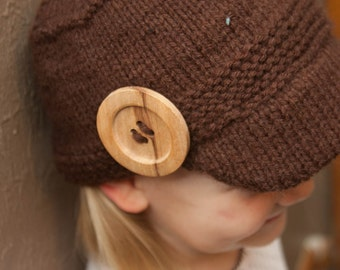 Brown Newsboy Hat with Large Button for 2-3 years olds