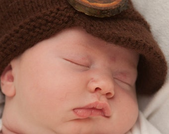 Dark Brown Newsboy Cap with Wooden Button for Newborns