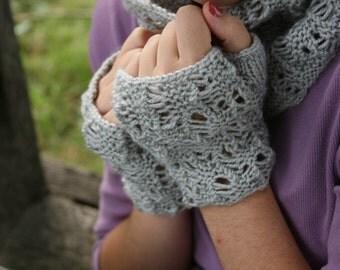 Smokey Grey Knit Fingerless Gloves