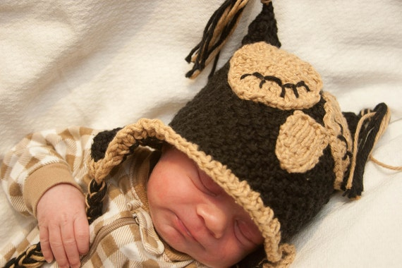 Black and Tan Baby Owl Hat for Newborn