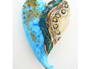 Large Turquoise and Ivory Lampwork Glass Heart Focal Bead w Silver Glass Twistie & Fine Silver SRA ISGB LE