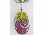Violet and Green Handmade Lampwork Glass Pendant with Silver Glass Murrini and Dots and Meandering Lavender Stringer SRA, ISGB, LE
