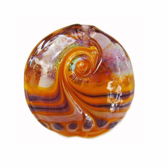 Pumpkin and Light Violet Handmade Lampwork Glass Lentil Focal Bead Swirled with Shimmering Rainbow Dichroic SRA ISGB LE