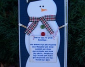 SASSY SNOWMAN in BLUE Blank Christmas Card. Funny. Winter. Humor.