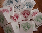 Peace On Earth Christmas Handmade Mini Cards Set of 12 Blue Red Green Holiday