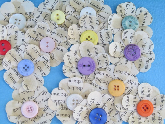 Freshly Picked from My Garden  Upcycled Children's Book Flower Embellishments for Paper Crafting  Scrapbooking