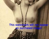 Old VINTAGE Antique FRENCH NUDE MODEL w. HEADBAND Photo REPRINT...MATURE