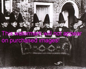 WITCHES Tea Party VINTAGE Photo REPRINT