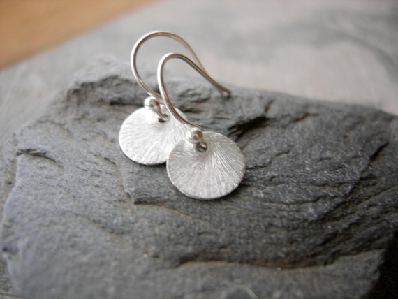 SHOP SALE- Tiny Coin-Sterling Silver Brushed Disc Earrings