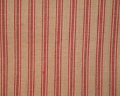 Ticking Material | Red Stripe Material | Homespun Material | Homespun Ticking |  Quilt Material | Sewing Material | 35 x 44