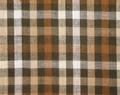 FLAWED Homespun Material | Homespun Fabric | Craft Fabric | Quilt Material | Cotton Fabric  Brown And Natural Large Check 34 x 44
