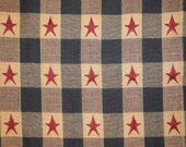 Cotton Fabric | Cotton Material | Old Glory Material | Cotton Jacquard Fabric | Navy And Wine Star Check 1 Yard