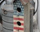 Handpainted Two Hole Primitive Americana Flag Birdhouse