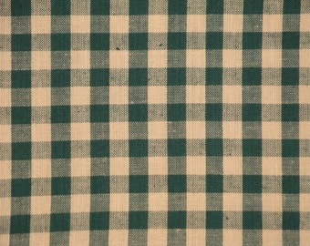 Homespun Material | Check Material | Cotton Material | Quilt Material |  Large Green Check Homespun Fabric | 1 Yard
