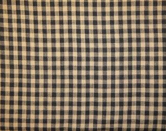 FLAWED Homespun Material Black Medium Check Cotton Fabric 38 x 44