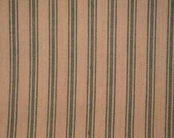 Ticking Fabric | Ticking Material | Stripe Material | Green Ticking Stripe Cotton Homespun Fabric 1 | 30 x 44