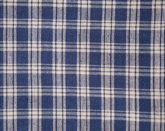FLAWED Navy Plaid Fabric | Cotton Homespun Fabric  |  Navy Basic Plaid | 36 x 44