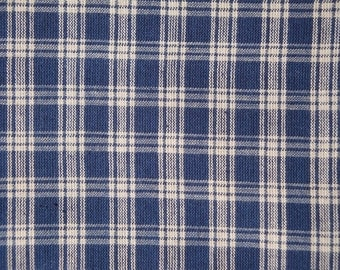 FLAWED Navy Plaid Fabric | Cotton Homespun Fabric  |  Navy Basic Plaid | 30 x 44