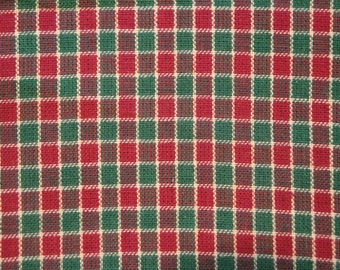 Red And Green Cotton Window Pane Homespun Material 67 x 44