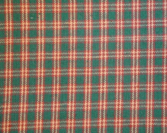 Homespun Fabric Green, Red And Natural Small Plaid  32 x 44