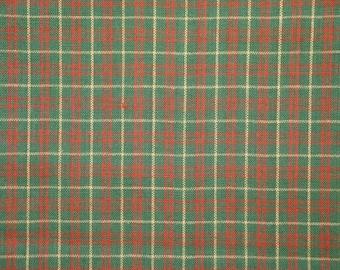 Plaid Fabric | Holiday Fabric | Cotton Fabric | Medium Plaid  | Green, Red And Natural | 1 Yard