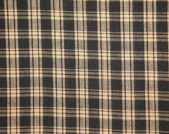 Black Plaid Fabric  |  Cotton Homespun Fabric  |  Basic Plaid Homespun Fabric  |  Rag Quilt Fabric | 28 x 44