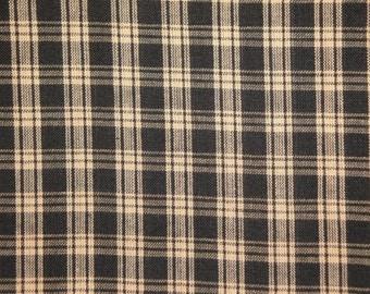 FLAWED Black Plaid Fabric  | Homespun Fabric  | Cotton Fabric | Basic Plaid Homespun Fabric  |  Rag Quilt Fabric | 1 Yard