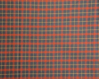 Homespun Cotton Fabric 1 Yard Quilt Shop Quality Navy And Red Plaid