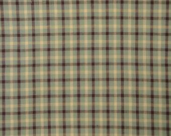 MeMe's Blue Bird Garden ME 422 Plaid Homespun Cotton Fabric 54 x 44 LAST PIECE