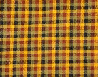 Cotton Homespun Fabric  Multi Color 3/8 Inch Check 1 Yard
