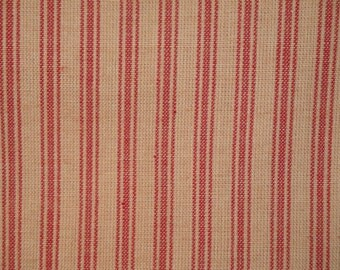 FLAWED Ticking Material | Red Stripe Material | Homespun Material | Homespun Ticking |  1 Yard
