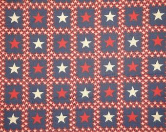 Star Fabric | Americana Fabric | Cotton Fabric |  Red White And Blue Fabric | 1 Yard
