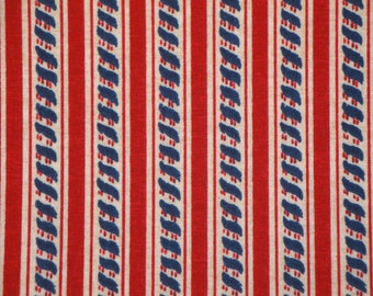 Americana Fabric | Cotton Fabric | Red White Blue Fabric | Patriotic Rope Stripe Fabric | 1 Yard