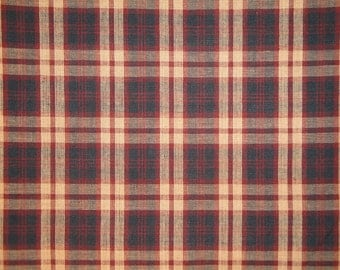 Homespun Material | Plaid Material | Primitive Material | Cotton Material | 1 Yard