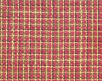 Cotton Homespun Fabric Wine, Green, Black and Natural Window Fine Plaid By The Yard